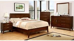 Snyder Collection CM7792KBDMCN 5-Piece Bedroom Set with King Bed, Dresser, Mirror, Chest and Nightstand in Brown Cherry Finish