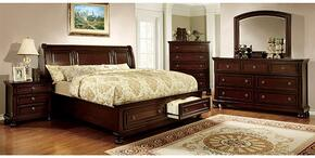 Northville Collection CM7683CKSBDMCN 5-Piece Bedroom Set with California King Storage Bed, Dresser, Mirror, Chest and Nightstand in Dark Cherry Finish