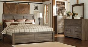 Juararo Queen Bedroom Set with Panel Bed, Dresser, Mirror and Chest in Dark Brown