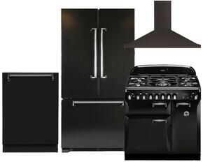 "Legacy 4-Piece Black Kitchen Package with AMLFDR20BLK 36"" Freestanding French Door Refrigerator, ALEG36DFBLK 36"" Freestanding Dual Fuel Range, ALTTDWBLK Fully Integrated Dishwasher and AMCHD36BLK Wall Mount Range Hood"