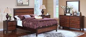 00145WBDMNN Bishop 5 Piece Bedroom Set with California King Bed, Dresser, Mirror and Two Nightstands, in Chestnut/Ginger