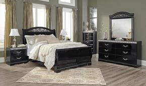 Constellations Queen Bedroom Set with Sleigh Bed, Dresser, Mirror, Nightstand and Chest in Black