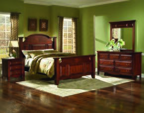 6740QBDMN Drayton Hall 4 Piece Bedroom Set with Queen Bed, Dresser, Mirror and Nightstand, in Bordeaux
