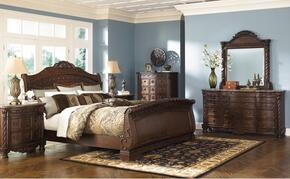 North Shore Collection King Bedroom Set with Sleigh Bed, Dresser, Mirror and Chest in Dark Brown