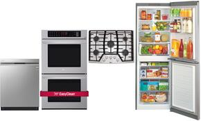 "4 Piece Kitchen Package With LCG3011ST 30"" Gas Cooktop, LWD3063ST 30"" Electric Double Wall Oven, LBN10551PS 24"" Bottom Freezer Refrigerator and LDF8874ST 24"" Built In Dishwasher"