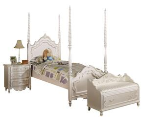 Pearl Collection 00995FNB 3 PC Bedroom Set with Full Size Bed + Nightstand + Bench in Pearl White and Gold Accents Finish
