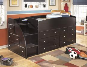 Embrace B239-68T-19-13L Twin Loft Bed with Loft Bed Top, Left Storage with Steps and Two Drawer Storages in Merlot