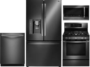 4-Piece Black Stainless Steel Kitchen Package with LFXS30766D 36