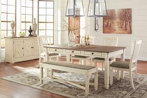 Bolanburg Collection 7-Piece Dining Room Set with Dining Room Table, 4 Side Chairs, Bench and Server in Two-Tone