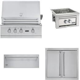 "4-Piece Stainless Steel Outdoor Kitchen Package with VGBQ53024NSS 30"" Natural Gas Grill, VQGPB5200NSS 24"" Side Burner, AD52820SS 32"" Double Access Door, and SD5360 36"" Storage Drawer"