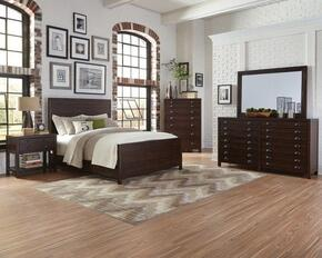 Lancaster Collection 204291KWSET 5 PC Bedroom Set with California King Size Panel Bed + Dresser + Mirror + Chest + Nightstand in Wire-Brushed Acacia Cocoa Finish