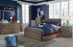 Javarin Full Bedroom Set with Storage Bed, Dresser, Mirror, Nightstand and Chest in Greyish Brown