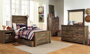 Trinell Twin Bedroom Set with Panel Bed with Trundle, Dresser, Mirror, 2 Nightstands and Chest in Brown