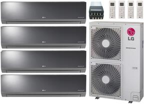 LMU480HVKIT113 Quad Zone Mini Split Air Conditioner System with 48000 BTU Cooling Capacity, 4 Indoor Units, Outdoor Unit, and 4-Port Distribution Box