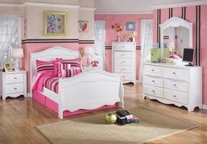 Exquisite Full Bedroom Set with Sleigh Bed, Dresser, Mirror and a Single Nightstand in White
