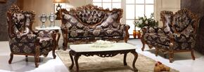 702ESPRESSOS3SET Traditional 3 Piece Livingroom Set, Sofa + Loveseat + Chair in Espresso Brown