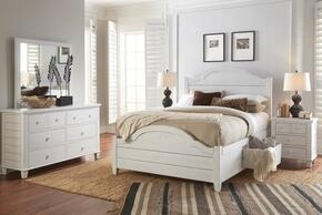 Chesapeake Collection 167396979899KT5SET 5 PC Bedroom Set with King Size Storage Bed + Dresser + Mirror + 2 Nightstands in Coastal White Finish