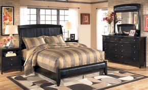 Flowers Collection Bedroom Set with Queen Size Sleigh Bed, Dresser, Mirror and Nightstand in Dark Brown