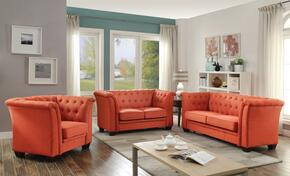 G324SET 3 PC Living Room Set with Sofa + Loveseat + Armchair in Orange Color