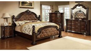 Monte Vista I Collection CM7296DAQDMCN 5-Piece Bedroom Set with Queen Bed, Dresser, Mirror, Chest and Nightstand in Brown Cherry Finish