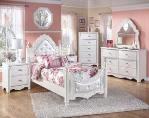 Woodard Collection Twin Bedroom Set with Poster Bed, Dresser, French Mirror, Single Nightstand and Chest in White