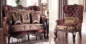 Lyon 685-S-C 2 Piece Living Room Set with Sofa and Chair in Rich Cherry