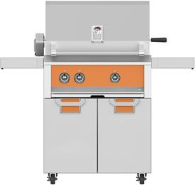 """30"""" Natural Gas with ECD30OR Tower Grill Cart with Two Doors, in Citra Orange"""