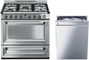"2-Piece Stainless Steel Kitchen Package with TRU36GGX 36"" Freestanding Gas Range and STU8647X 24"" Fully Integrated Dishwasher"