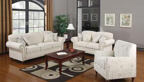 Norah 502511SET 3 PC Living Room Set with Sofa + Loveseat + Armchair in Oatmeal Color