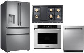 "4-Piece Stainless Steel Kitchen Package with DRF36C100SR 36"" French Door Refrigerator, DTT48M976HS 48"" Natural Gas High Altitude Cooktop, RNWO230PS 30"" Double Wall Oven, and DDW24M999US 24"" Fully Integrated Dishwasher"