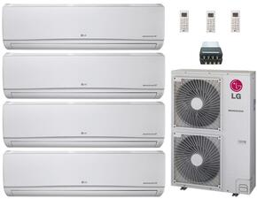 LMU480HVKIT27 Quad Zone Mini Split Air Conditioner System with 42000 BTU Cooling Capacity, 4 Indoor Units, Outdoor Unit, and 4-Port Distribution Box