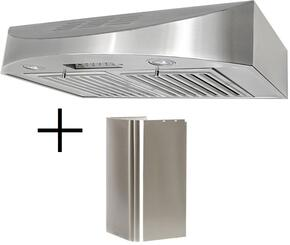 "CH3830SQBD1CH1120DC1 30"" Ductless Under Cabinet Hood and Duct Cover for Wall Mount Style with Multi Style Option, 6 Speeds, Quiet Mode, Electronic Control Button with LED Display and Twin Vertical Turbine Impeller in Stainless Steel"
