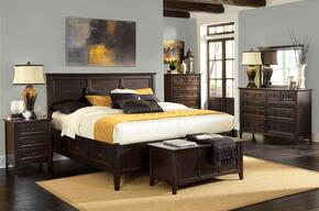 Westlake WSLDM5094 4-Piece Bedroom Set with Queen Storage Bed, Dresser, Mirror and Single Nightstand in Dark Mahogany Finish