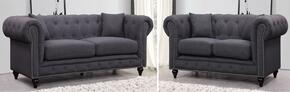 Chesterfield 662GRY-S-L 2 Piece Living Room Set with Sofa + and Loveseat in Grey