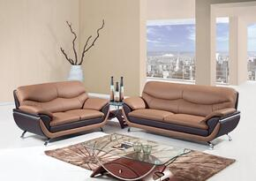 U2106-SL 2 Piece Two-Toned Bonded Leather Living Room Set in Brown, Sofa + Loveseat