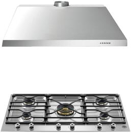 "2-Piece Stainless Steel Kitchen Package with PM36500X 36"" Natural Gas Cooktop and KU36PRO1X14 36"" Canopy Hood"