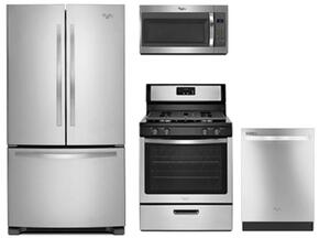 "4 Piece Kitchen Package With WRF535SMBM 36"" French Door Refrigerator, WFG320M0BS 30"" Gas Range, WMH31017FS 30"" Over the Range Microwave and WDT720PADM 24"" Fully Integrated Dishwasher"