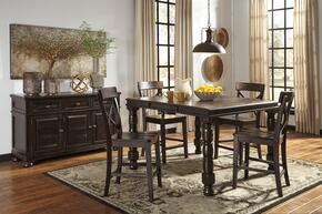 Gerlane Collection 6-Piece Dining Room Set with Rectangular Counter Table, 4 Barstools and Server in Dark Brown