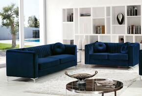 Isabelle Collection 6122PCSTLKIT1 2-Piece Living Room Sets with Stationary Sofa, and Loveseat in Navy