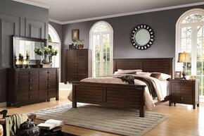Brooklyn 23704CK5PC Bedroom Set with California King Size Bed + Dresser + Mirror + Chest + Nightstand in Espresso Finish