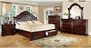 Scottsdale Collection CM7162KSBDMCN 5-Piece Bedroom Set with King Storage Bed, Dresser, Mirror, Chest and Nightstand in Brown Cherry Finish