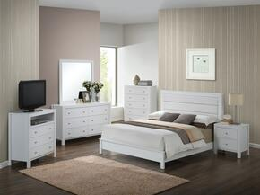 Aries Collection G2490AFBSET 6 PC Bedroom Set with Full Size Panel Bed + Dresser + Mirror + Chest + Nightstand + Media Chest in  White Finish