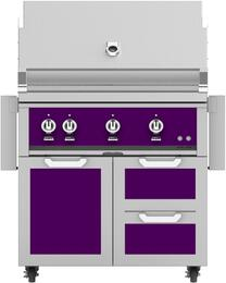 "36"" Freestanding Natural Gas Grill with GCR36PP Tower Grill Cart with Double Drawer and Door Combo, in Lush Purple"