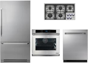 "4-Piece Stainless Steel Kitchen Package with DYF36BFTSL 36"" Bottom Freezer Refrigerator, DYCT365GSNGH 36"" Natural Gas Cooktop, RNWO130EW 30"" Electric Single Wall Oven, and DDW24M999US 24"" Fully Integrated Dishwasher"