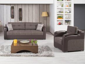DIDESBCHKB Divan Deluxe Sofabed and Chair with Pillows, Stitched Detailing, Curved Arms and Block Feet with Woodlike and Stainless Steel Accents: Kalinka Brown