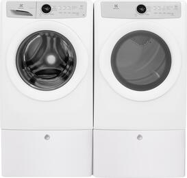 "White Front Load Laundry Pair with EFLW317TIW 27"" Washer, EFDG317TIW 27"" Gas Dryer and 2 EPWD157SIW Pedestals"