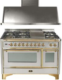 "2-Piece Stainless Steel Kitchen Package with UM120FDMPI 48"" Freestanding Dual Fuel Range (Brass Trim, 6 Burners, Griddle)   and UAM120I 48"" Wall Mount Range Hood"