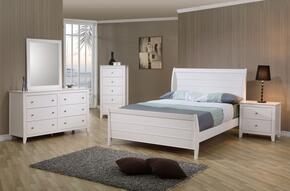 Selena Collection 400231TSET 5 PC Bedroom Set with Twin Size Bed + Dresser + Mirror + Chest + Nightstad in White Finish