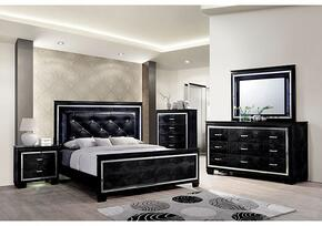 Bellanova Collection CM7979BKKBDMCN 5-Piece Bedroom Set with King Bed, Dresser, Mirror, Chest and Nightstand in Black Finish