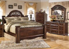 Gabriela King Bedrrom Set with Poster Bed, Dresser and Mirror in Dark Reddish Brown